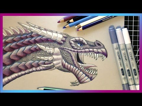 Coloured pencil drawing of a dragon watch in timelapse art videos inspired by fantasy