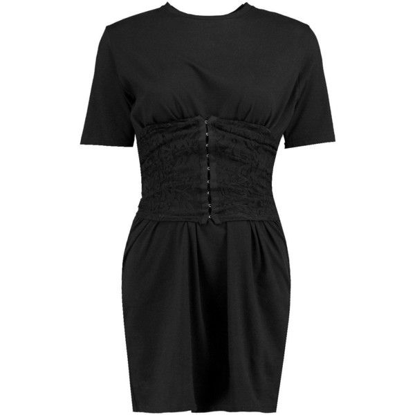 Boohoo Ivy Lace Corset T-Shirt Dress ($30) ❤ liked on Polyvore featuring dresses, t-shirt maxi dresses, bodycon mini dress, lace skater dress, lace corset and t-shirt dresses