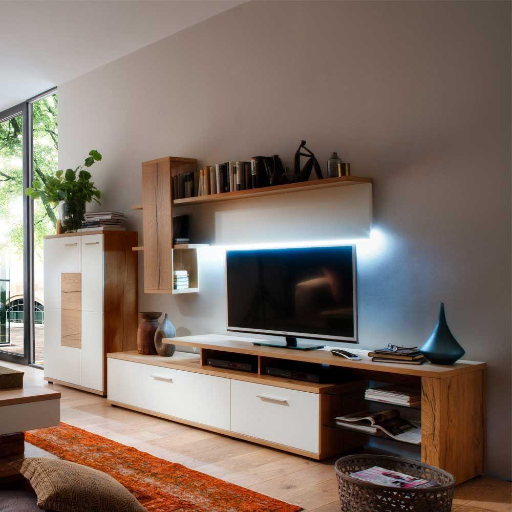 Wohnzimmer Wohnwand in Weiß mit Eiche furniert LED Beleuchtung (3 ...