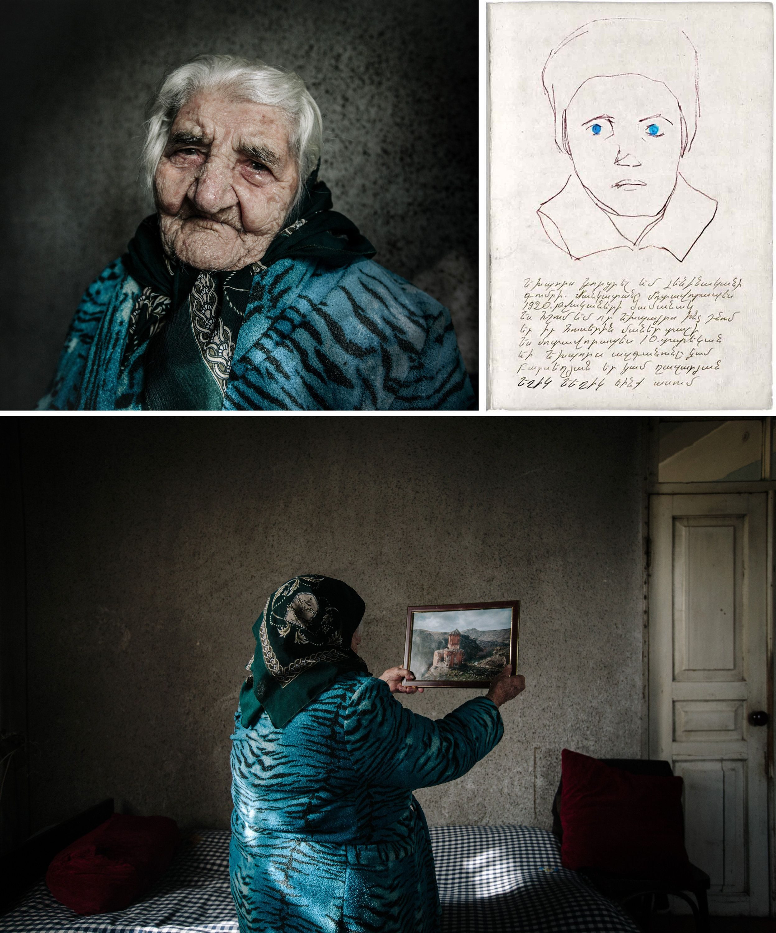 """Yepraksia Gevorgyan holds an image of the location where she recalls escaping with her family. She was separated from her brother. """"His name is Yeghia Ghazarian,"""" she says. """"I was 10 when I last saw him. He liked to put me on his shoulders and play with me at the orphanage. I don't remember much else about him except he has blue eyes, like mine."""" Her grandson drew the portrait sketch (top right)."""