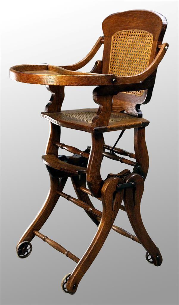 15456 Antique Victorian Oak Up and Down High Chair | Antigüedades ...