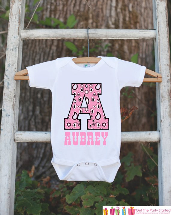 097c20bb2ef Western Outfit - Personalized Bodysuit For Baby Girl - Pink Paisley Initial  Shirt with Baby s Name -