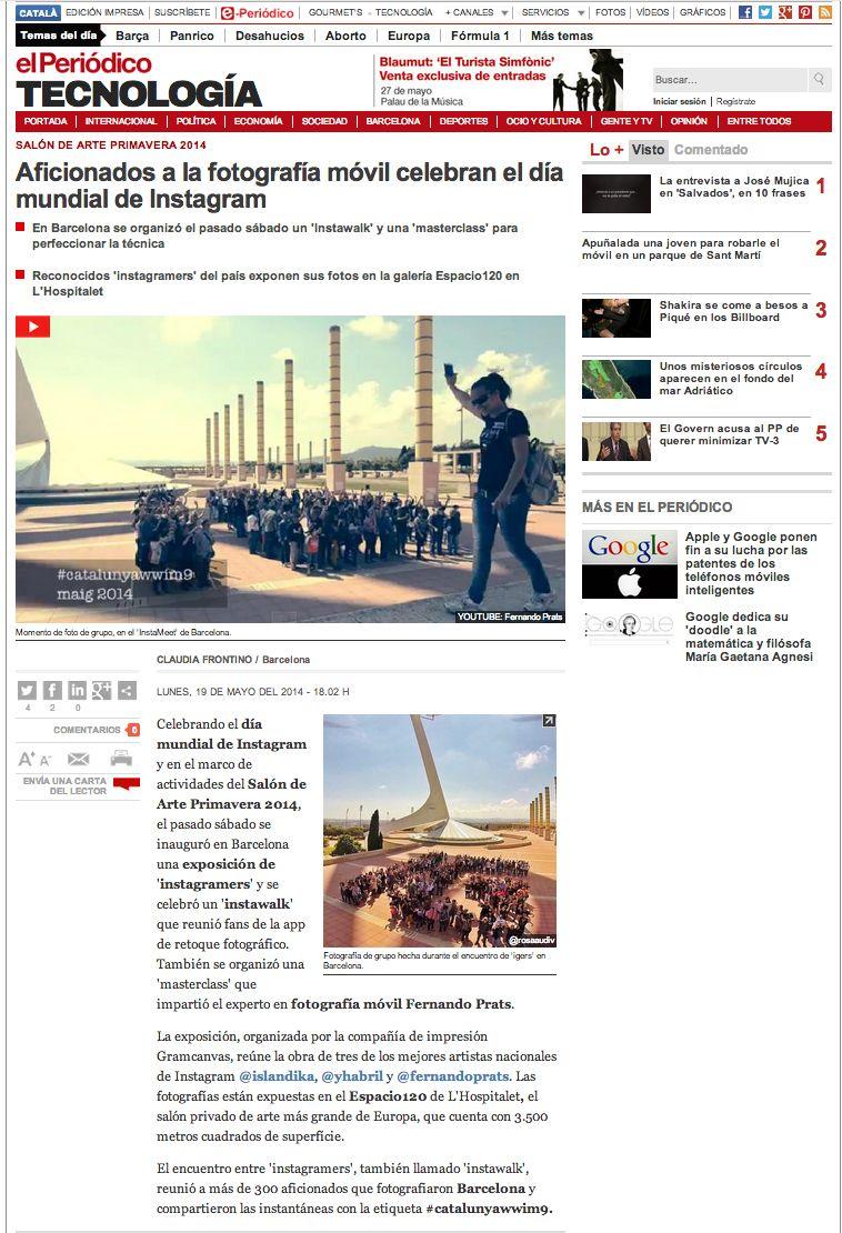En El Periódico: artículo sobre el Salón de Arte Primavera y el día mundial de Instagram y la Masterclass de Fernando Prats.