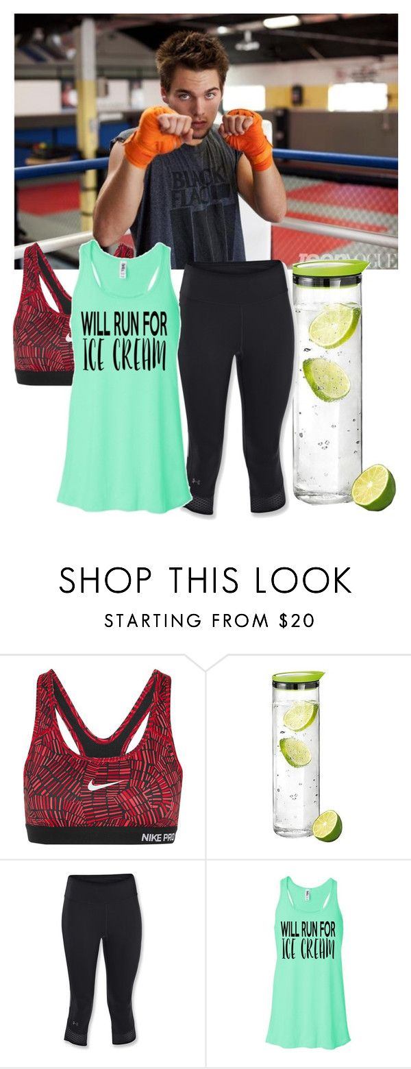 """""""Working out with Dylan Sprayberry"""" by gabbyfangirl ❤ liked on Polyvore featuring NIKE, blomus and Under Armour"""