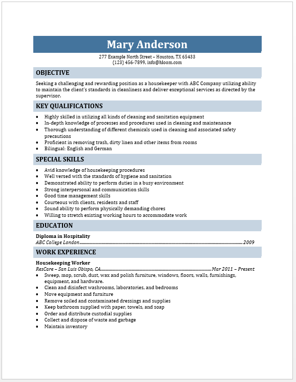 Housekeeper Resume November Word Templates Housekeeping Objective