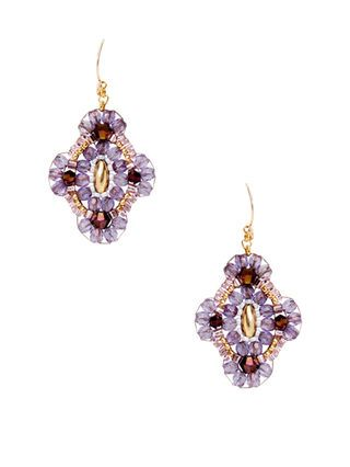 Purple Quartz & Miyuki Drop Earrings by Miguel Ases at Gilt
