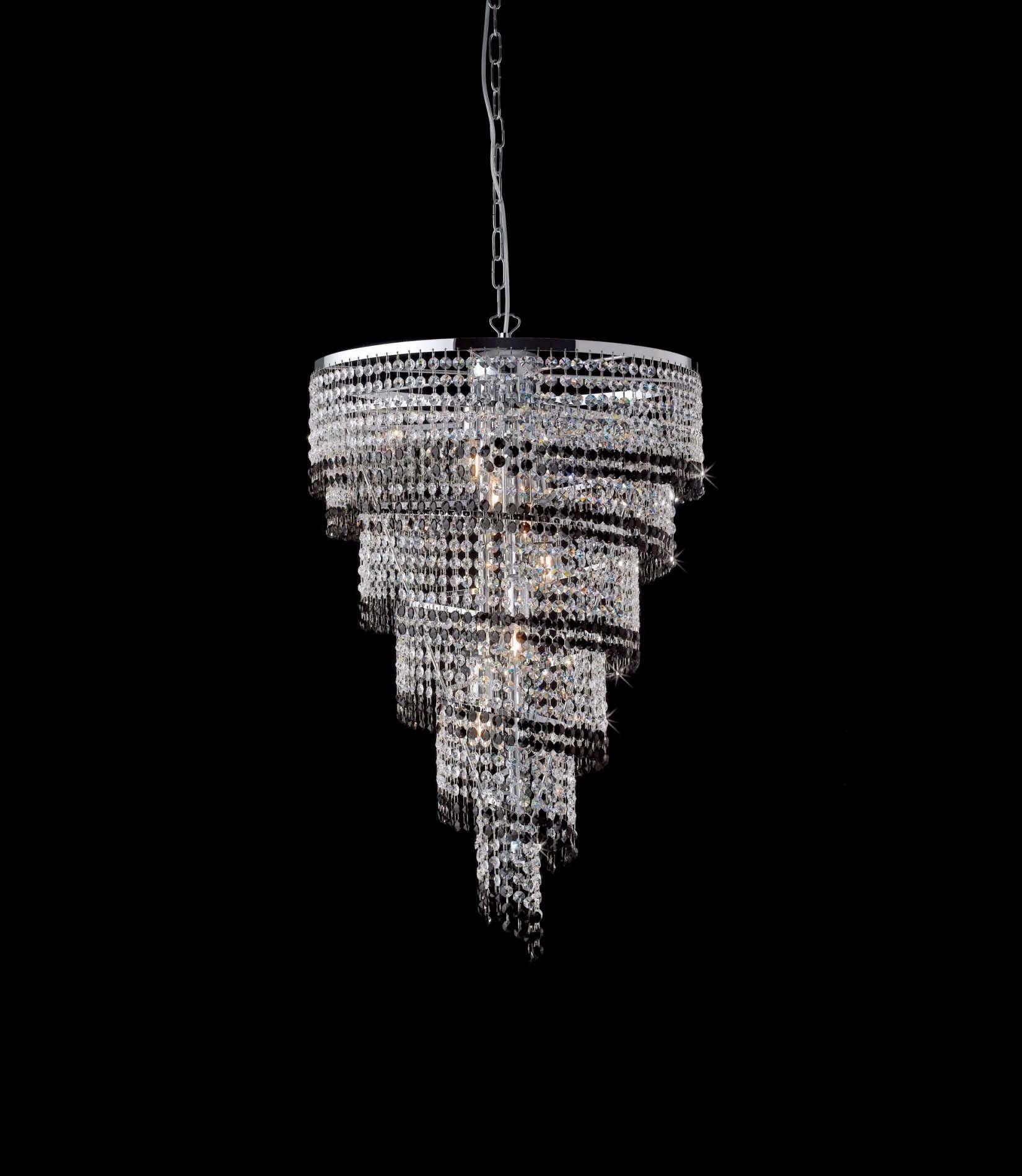 Lampadari Moderni Eleganti.Lampadario Moderno In Cristallo Trasparente E Nero 6 Luci