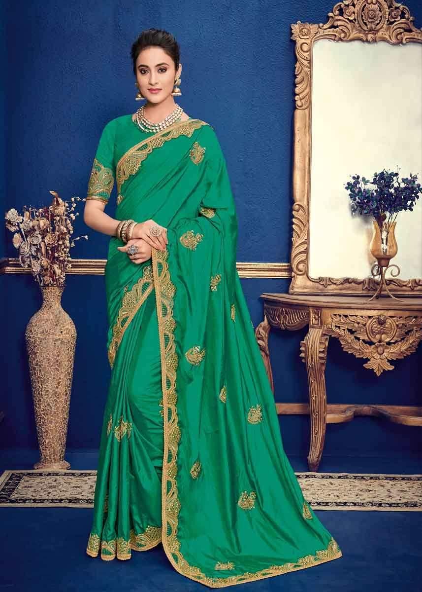 Silk Mix Saree Aqua Green