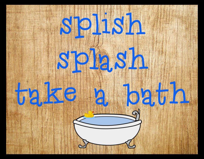 wood sign primitive (Splish Splash Take A bath) wall art home decor ...