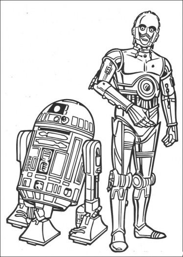R2d2 And 3cpo Coloring Page To Use As An Embroidery Pattern