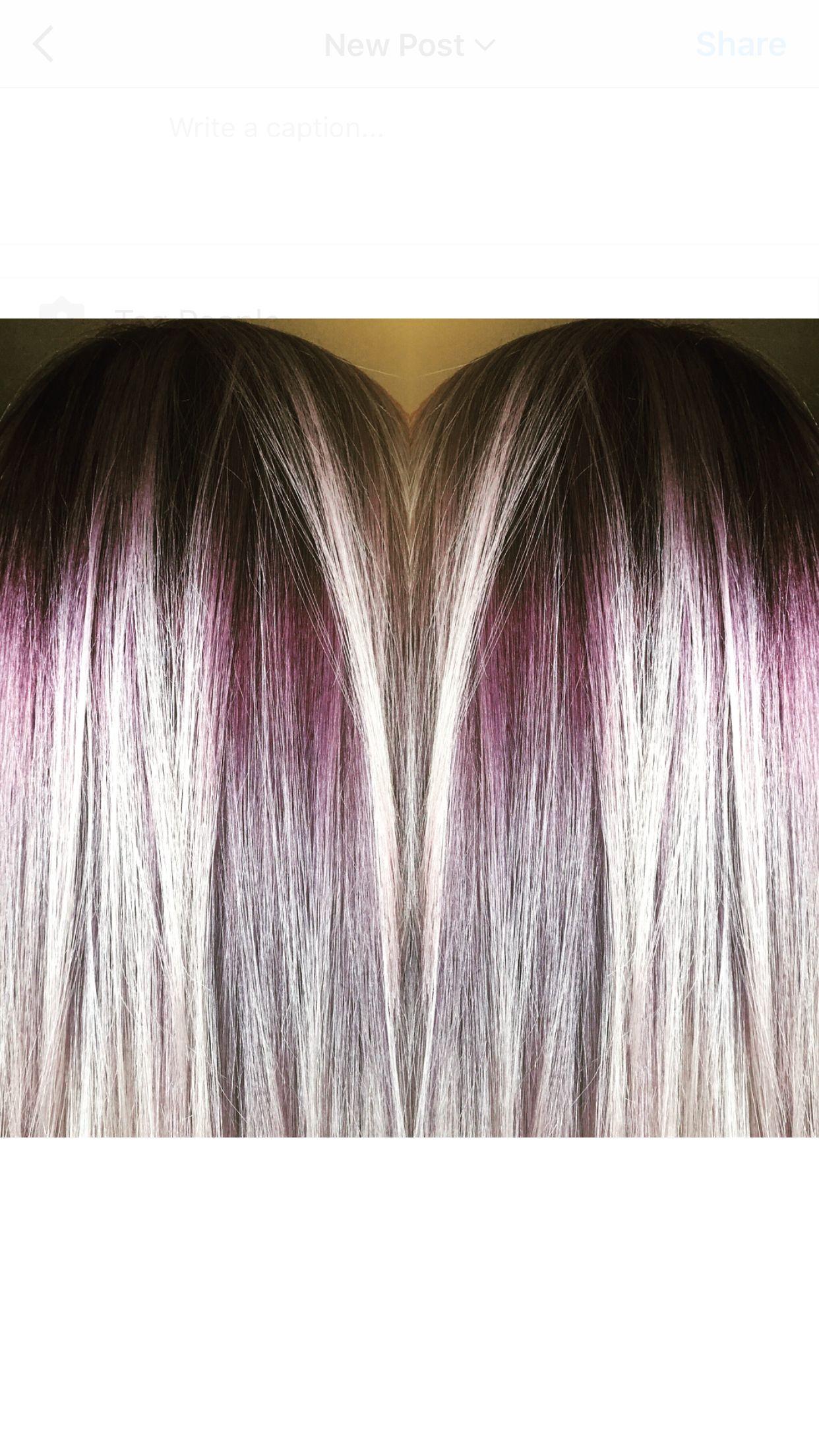 Red Violet Shadow root on Platinum Blonde hair