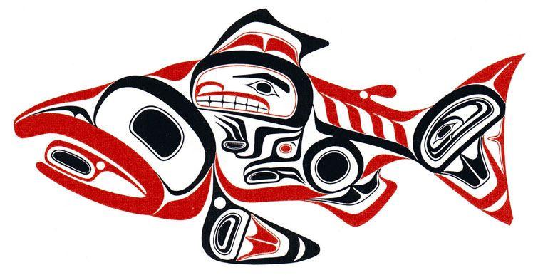 Haida Dog Salmon -- Skaagi | Gallery | Bill Reid's Art | The Raven's ...
