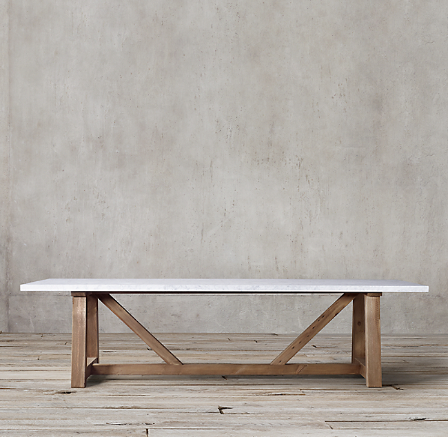Salvaged Wood Marble Beam Rectangular Dining Table Dining Table Dining Table Marble Marble Top Dining Table