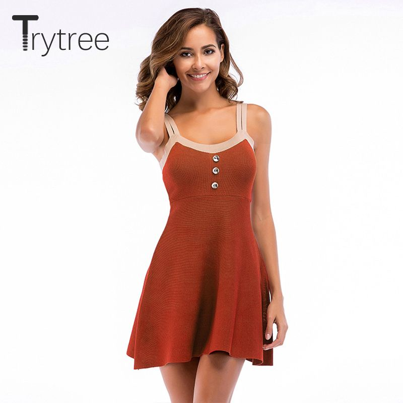 6f379f02e35 Pas cher Trytree Femmes D été Robe tricot robe 2018 Partie Polyester Solide  chemise kyliejenner