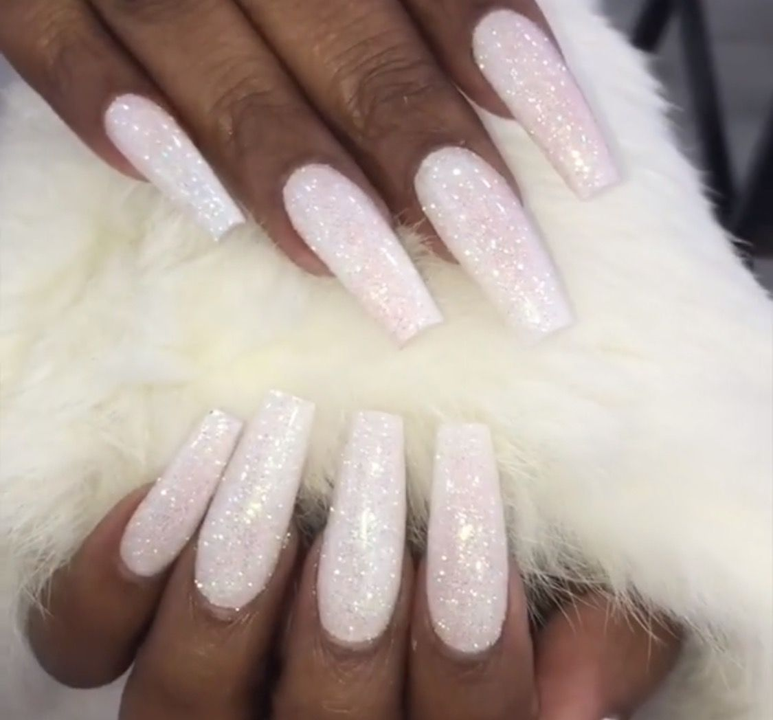 White Bling Nails Follow Hair Nails Style For More White Glitter Nails Bling Nails White Acrylic Nails With Glitter
