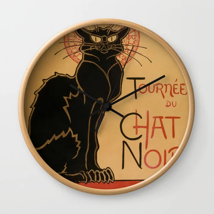 Pin By Pod Artists On Wall Clocks Wall Clock Le Chat Noir Cat Posters