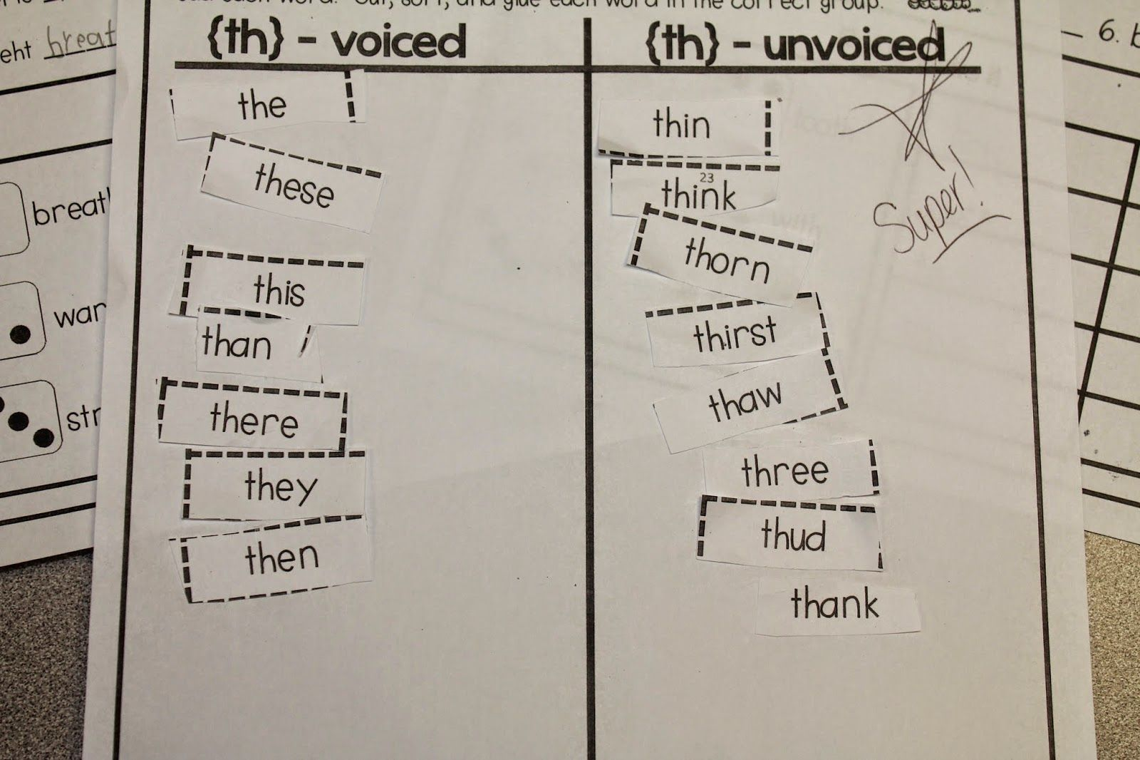 Th Word Sort Voiced Unvoiced Classroom