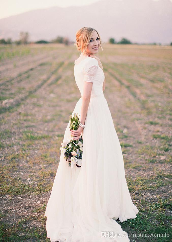 Una línea de gasa de encaje informal vestidos de novia modesta 2017 ...