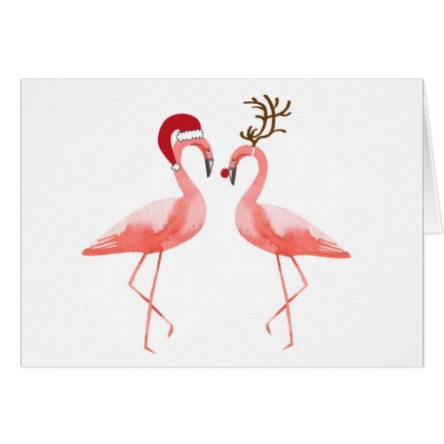 Flamingos Santa And Rudolph Christmas Holiday Card Zazzle Com Rudolph Christmas Card Diy Holiday Cards Holiday Design Card
