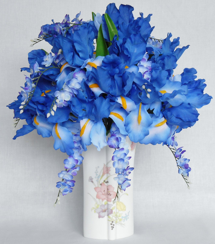 Silk Flower Arrangement Blue Iris Blue Wisteria Floral Vase
