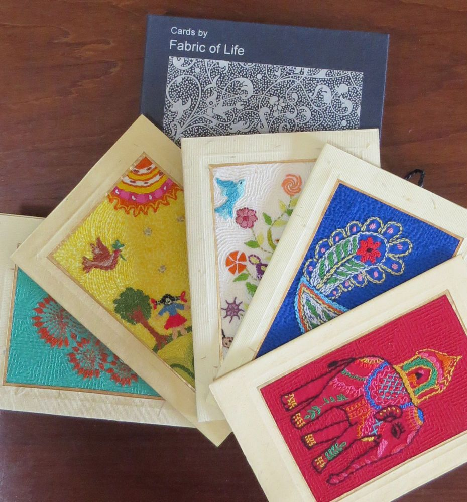 Greeting card box set of 5 hand embroidered cards kristyandbryce Choice Image