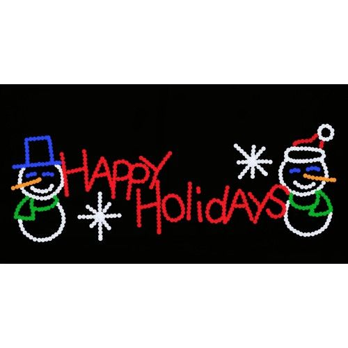 Happy Holidays signs are great. Check out the rest of our wide selection. #Signs #Arches #ChristmasDisplay #ChristmasLights