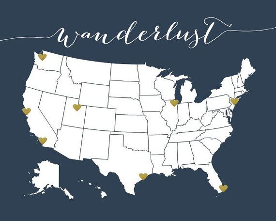 US Map Navy Travel Map Print And Gold Heart Stickers USA - Map of us gold migration