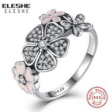 Valentine's Day Authentic 925 Sterling Silver Pink Flower Poetic Daisy Cherry Blossom Finger Rings for Women Original Jewelry(China (Mainland))