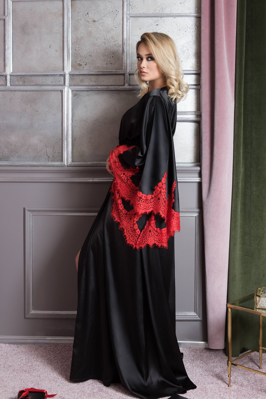 Royal Robe Red Black Kimono Peignoir Nightgowns Lace Sleeve 1a34215f0