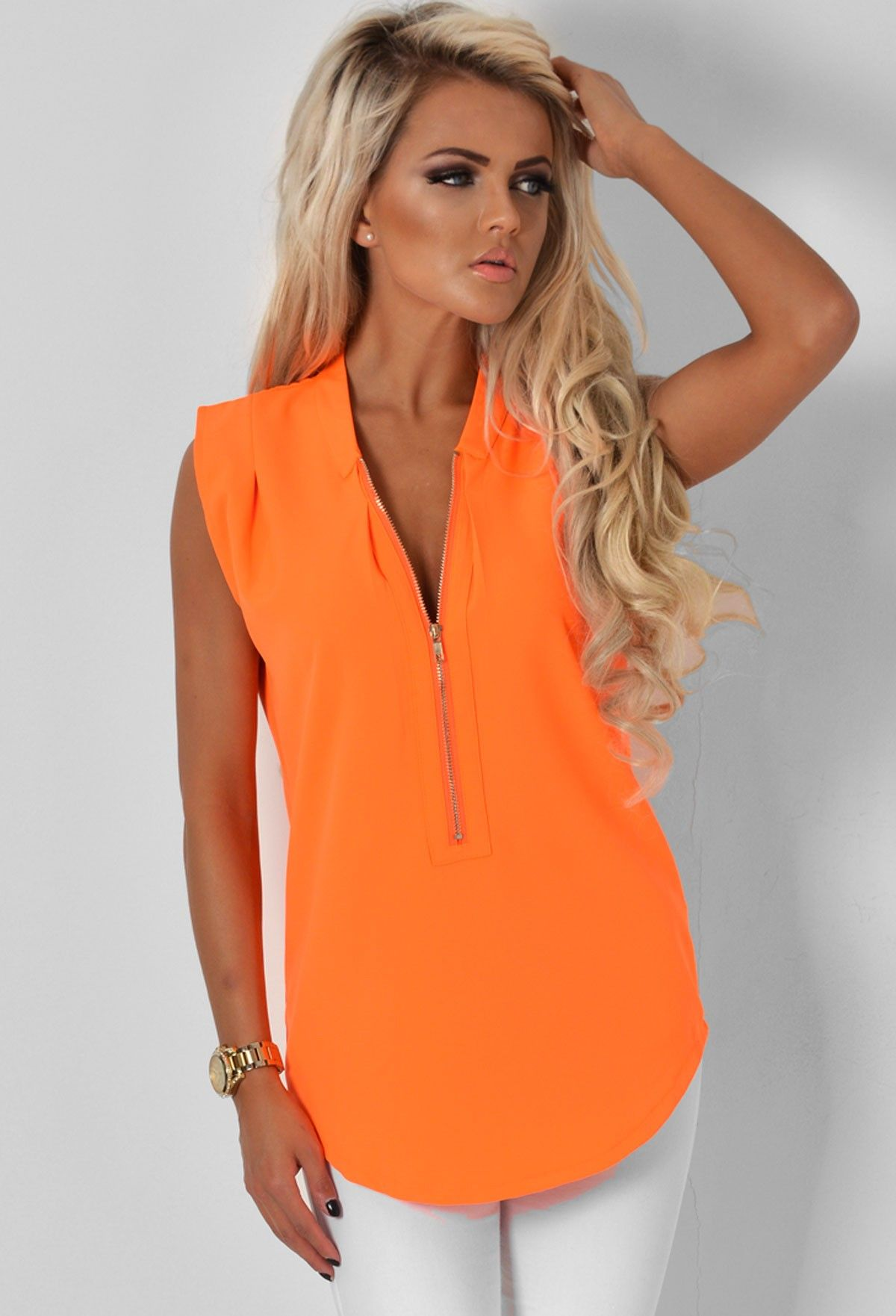 Kavita neon orange 3 4 zip top pink boutique kl der pinterest neon boutique and zip - Boutique orange narbonne ...