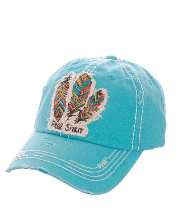 New KBETHOS  Free Spirit -turquoise Distressed Baseball Cap 0ada478359