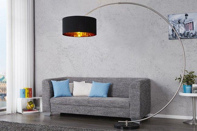 Design Bogenlampe PYTHON in schwarz gold Bogenleuchte mit Dimmer - wohnzimmer gold schwarz