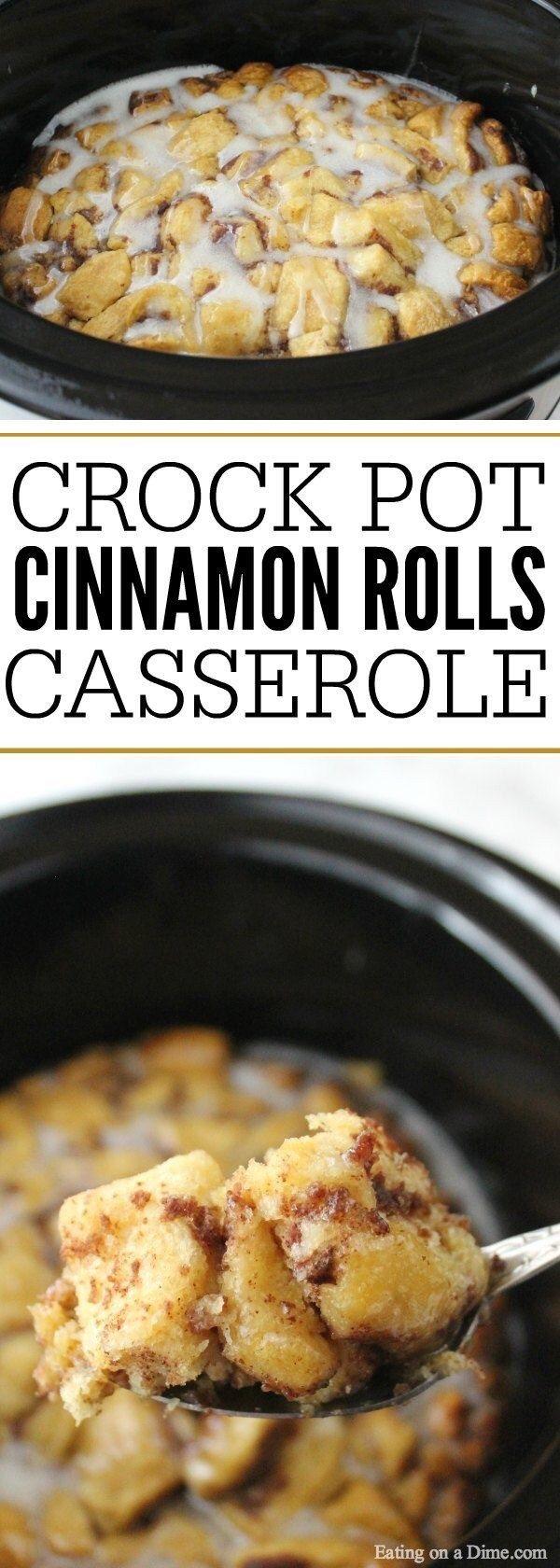 Crock Pot Cinnamon Roll Casserole #slowcookercrockpots