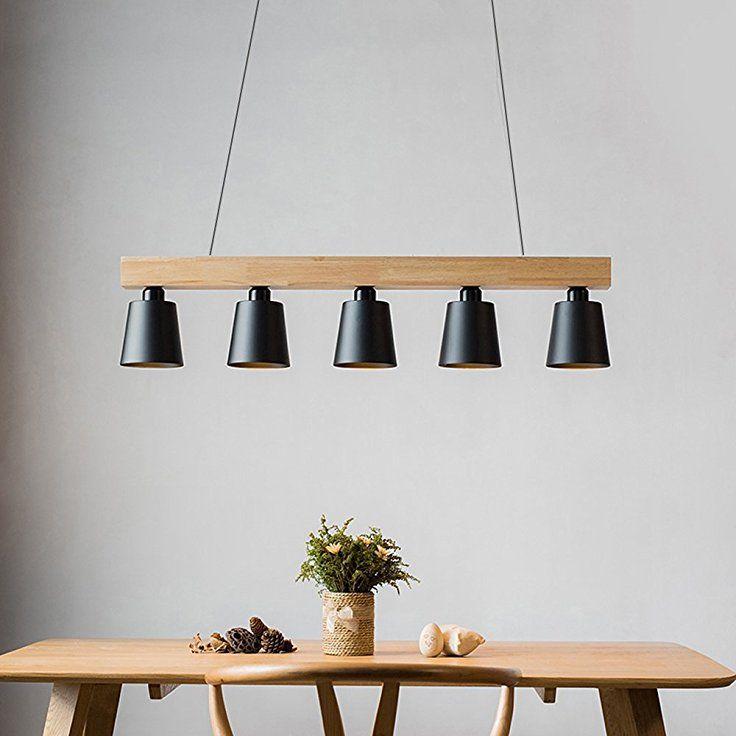 Zmh Lustre Retro Suspension Led Lampe A Suspension En Bois