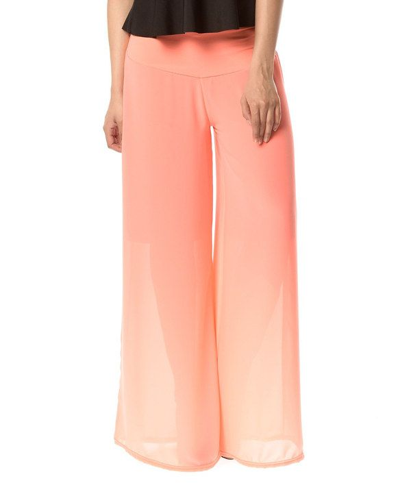 This Coral Sheer Palazzo Pants by La belle Française is perfect! #zulilyfinds