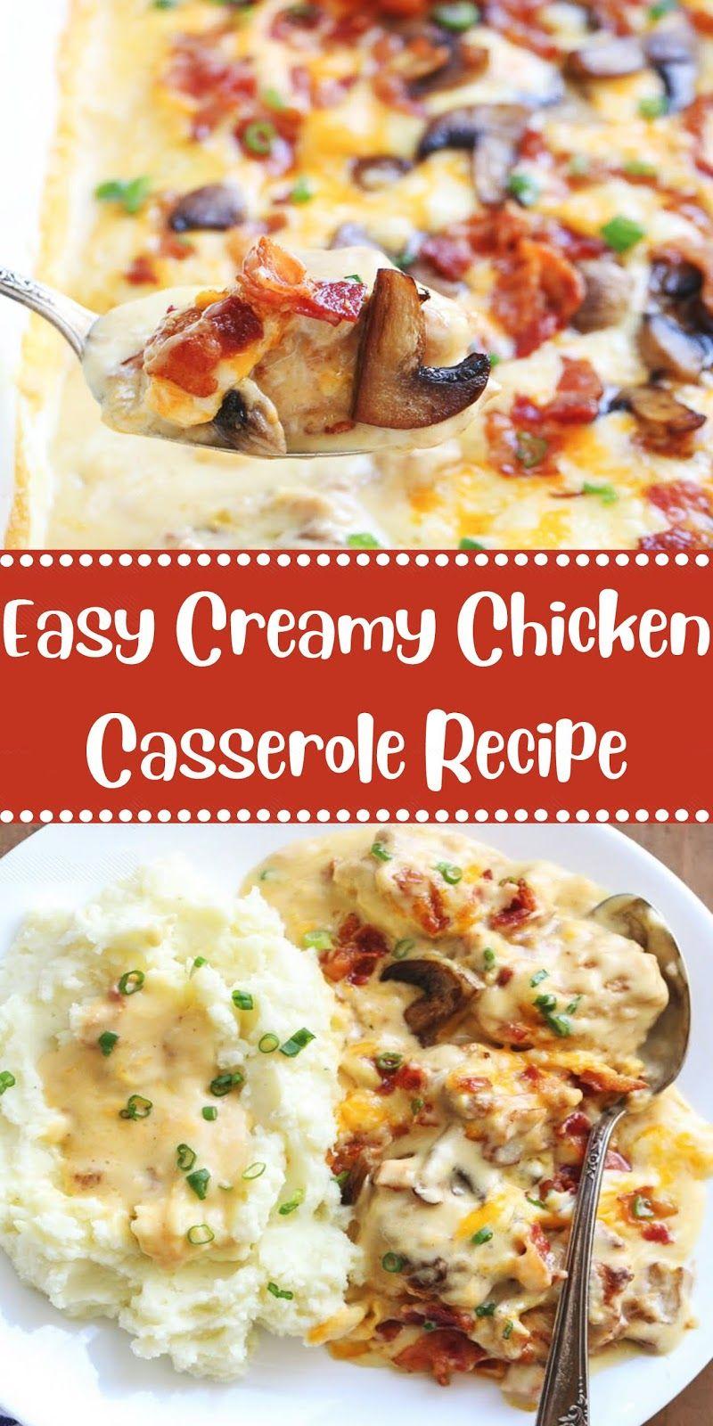 Easy Creamy Chicken Casserole Recipe Chicken Recipes Casserole Creamy Chicken Casserole Casserole Recipes