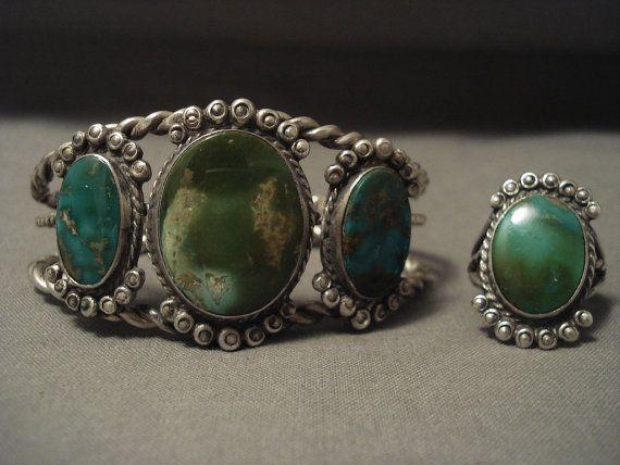 Opulent « début du dépôt » 1900 Royston Turquoise argent Bracelet bague Set