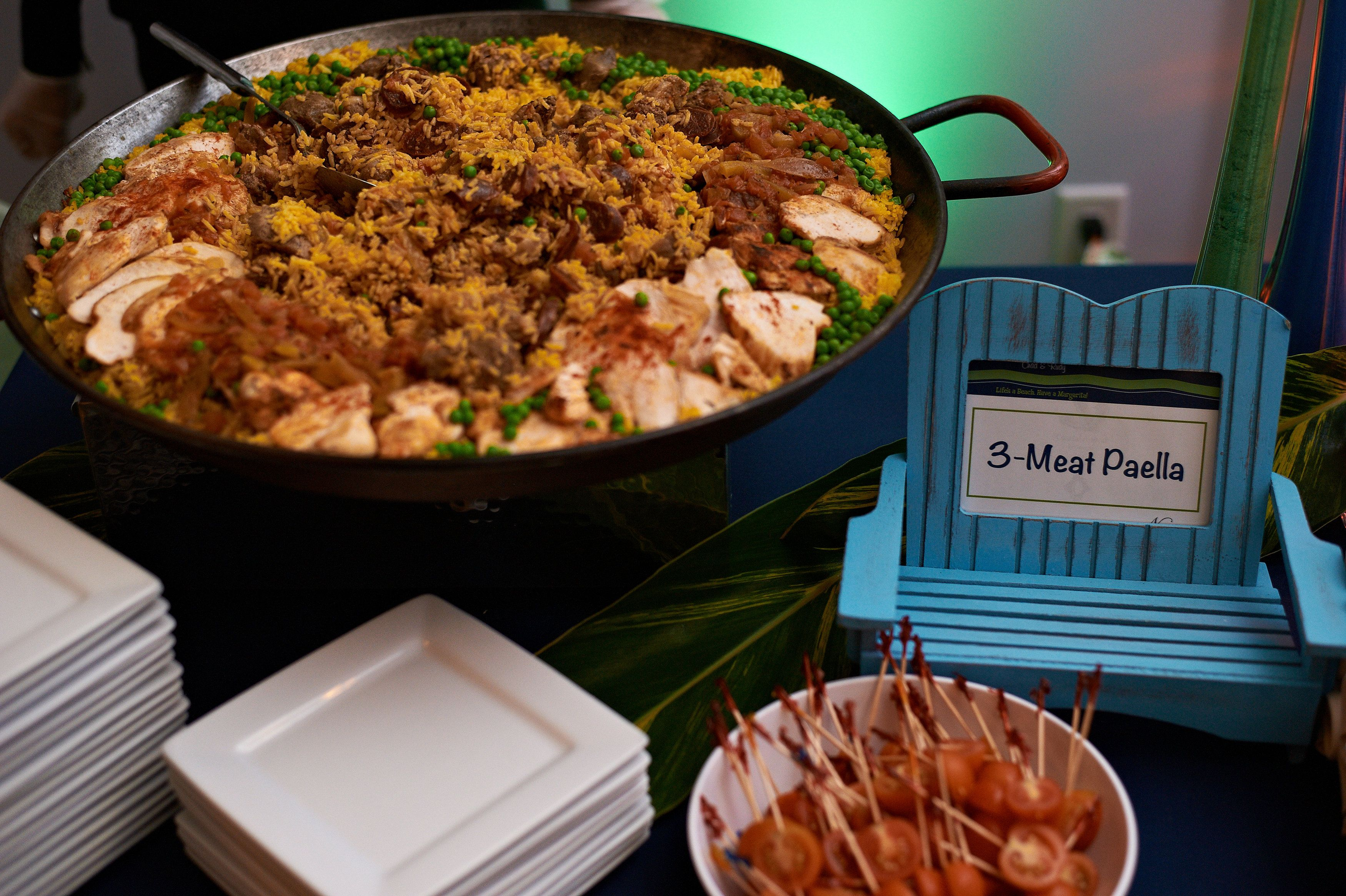 paella, nage catering, outsource design, beach wedding, wedding food stations