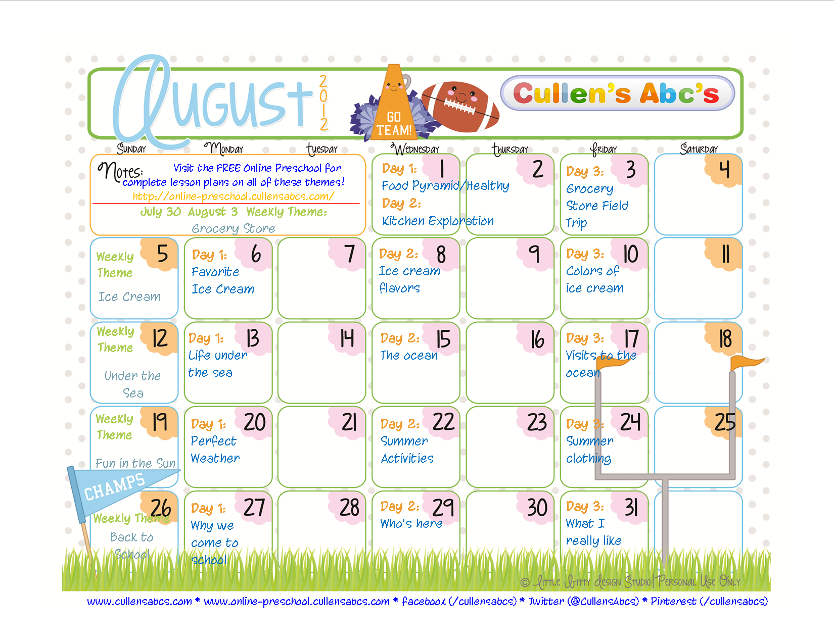 The August Calendar is now available!  Download and print this to keep up with everything Cullen's Abc's!  Videos and lesson plans are available in the FREE online preschool for each day!  www.cullensabcs.com  http://www.online-preschool.cullensabcs.com/