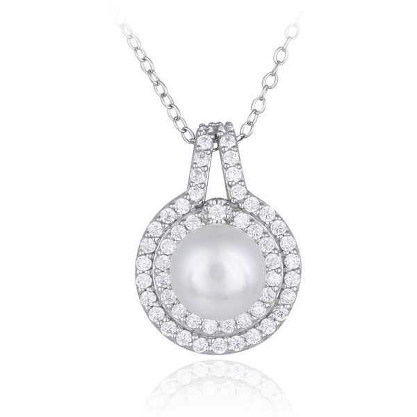 Glitzy Rocks Sterling Silver Freshwater Pearl Cubic Zirconia Necklace ($15) ❤ liked on Polyvore featuring jewelry, necklaces, white, sterling silver pendant, sterling silver necklaces, long chain necklace, chain necklaces and long pendant necklace