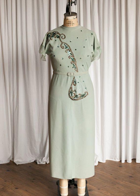 Earwyn dress | vintage 40s gown | aqua rayon 1940s evening gown ...