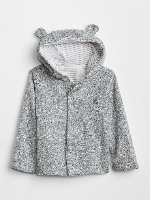 6e14ca35f Gap Baby Favorite Reversible Bear Hoodie Sweatshirt Light Grey Marle ...