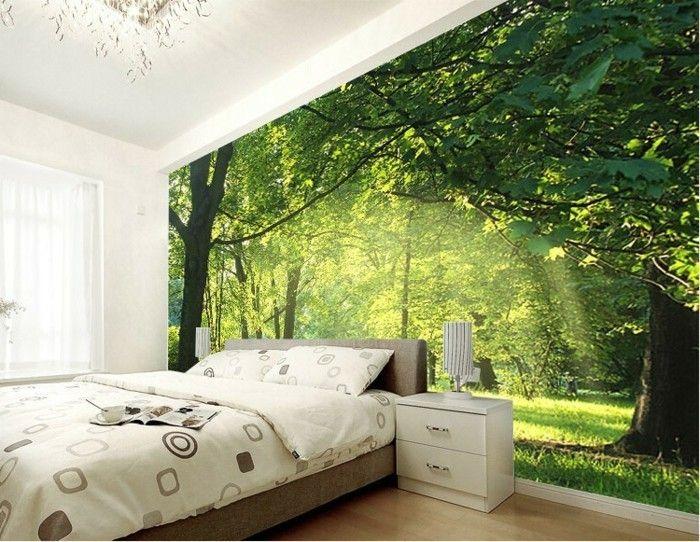 gemütliches modell schlafzimmer fototapete wald motive ...