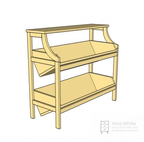 Library Console Table - make this but as a nightstand with shelves ...