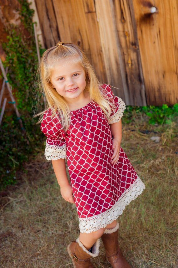 Girls Lace Dress, Girls Maroon Fall Dress, Girls Peasant Dress -   16 DIY Clothes Lace girls ideas