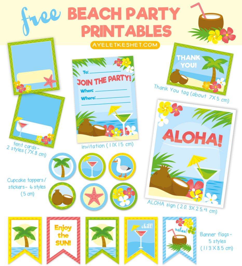 Free Tropical Beach Themed Party Printables With Images Beach