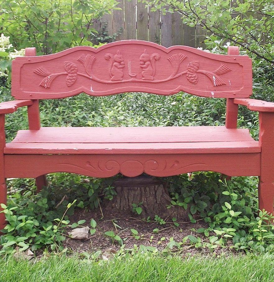 Vintage Wooden Garden Bench With Carved Squirrel Motif