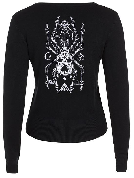 "Women's ""Spider Skull"" Cardigan by Jawbreaker (Black) #InkedShop #cardigan #spider #style #fashion #womenswear"