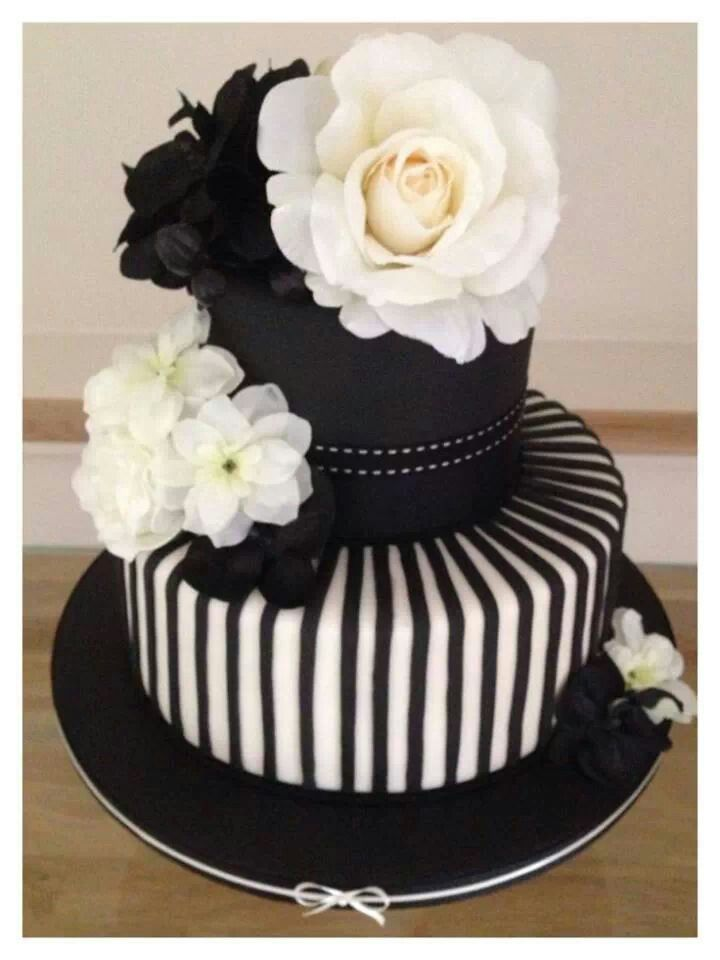 Black N White Rose Cake With Images Fondant Cakes Cake