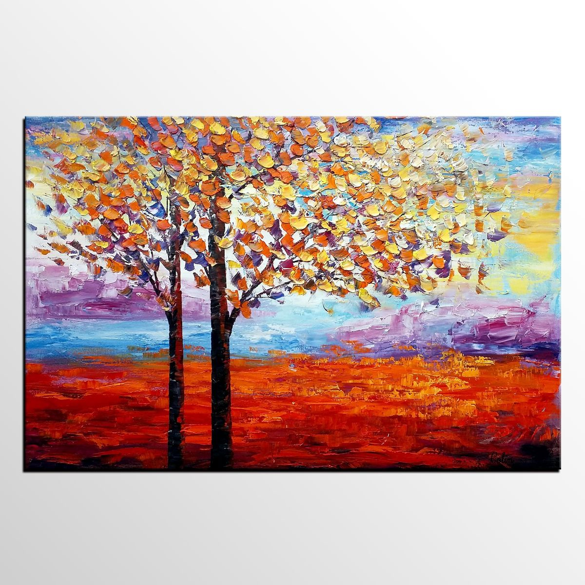 Landscape Painting Dining Room Wall Decor Tree Oil Abstract Large